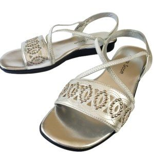 Laura Scott Silver Studded Strappy Flat Sandals